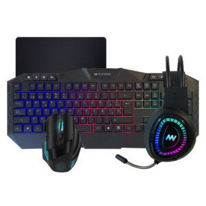 Kit Teclado Mouse Auricular Gamer 360 Pc Usb Led Rgb Juegos Gaming